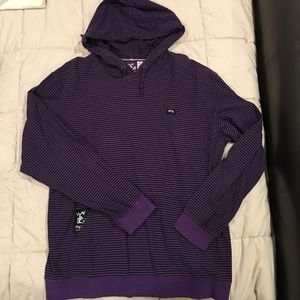 LRG Purple Striped Long Sleeve Hoodie L